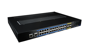 High-Power fanless PoE switch(24 ports gigabit 4*10G uplink L3-managed)