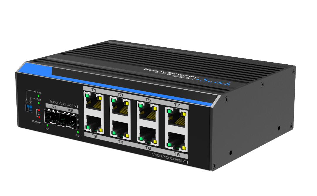 Industrial 8-Port Gigabit+2-Port 100/1000X SFP Unmanaged Switch(Fast-Ring)