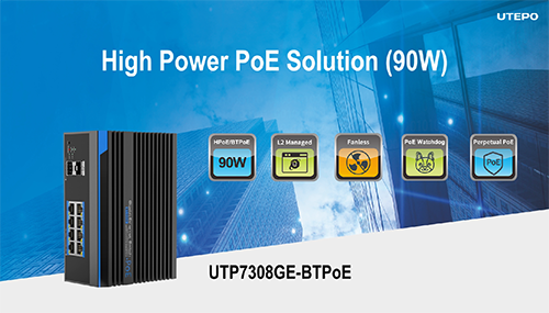 UTP7308GE-BTPoE UTEPO BT 90W PoE Switch Solution
