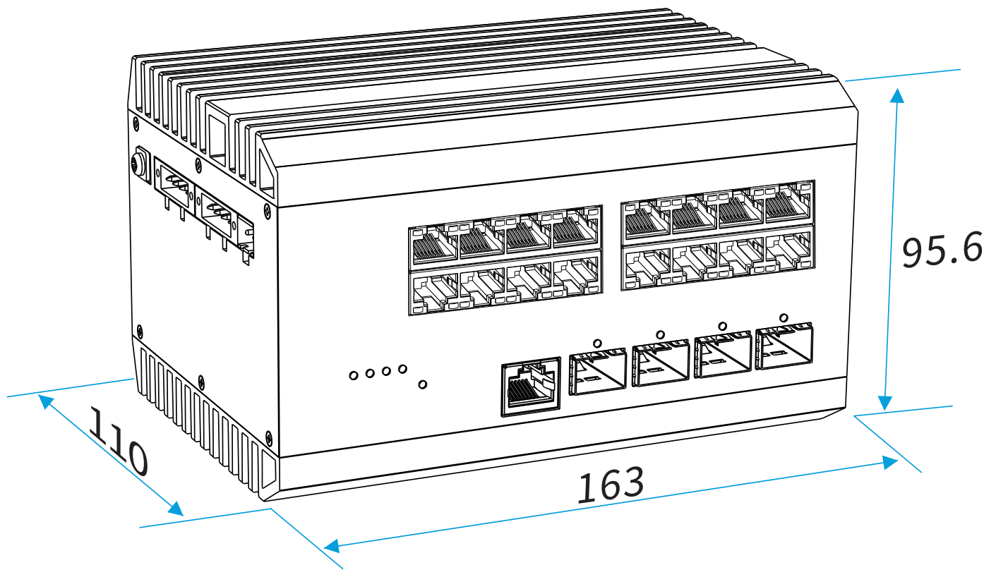 16 ports industrial poe switch