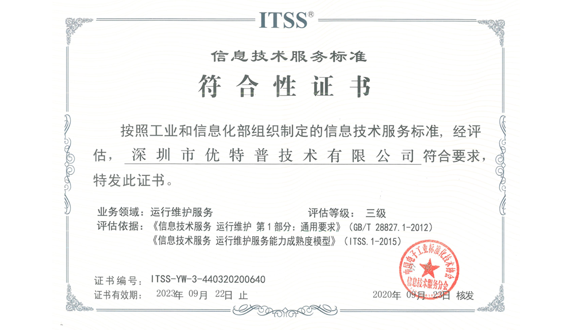 UTEPO Obtained the ITSS Qualification Certificate